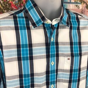 Tommy Hilfiger Blue and Black Button Up Shirt